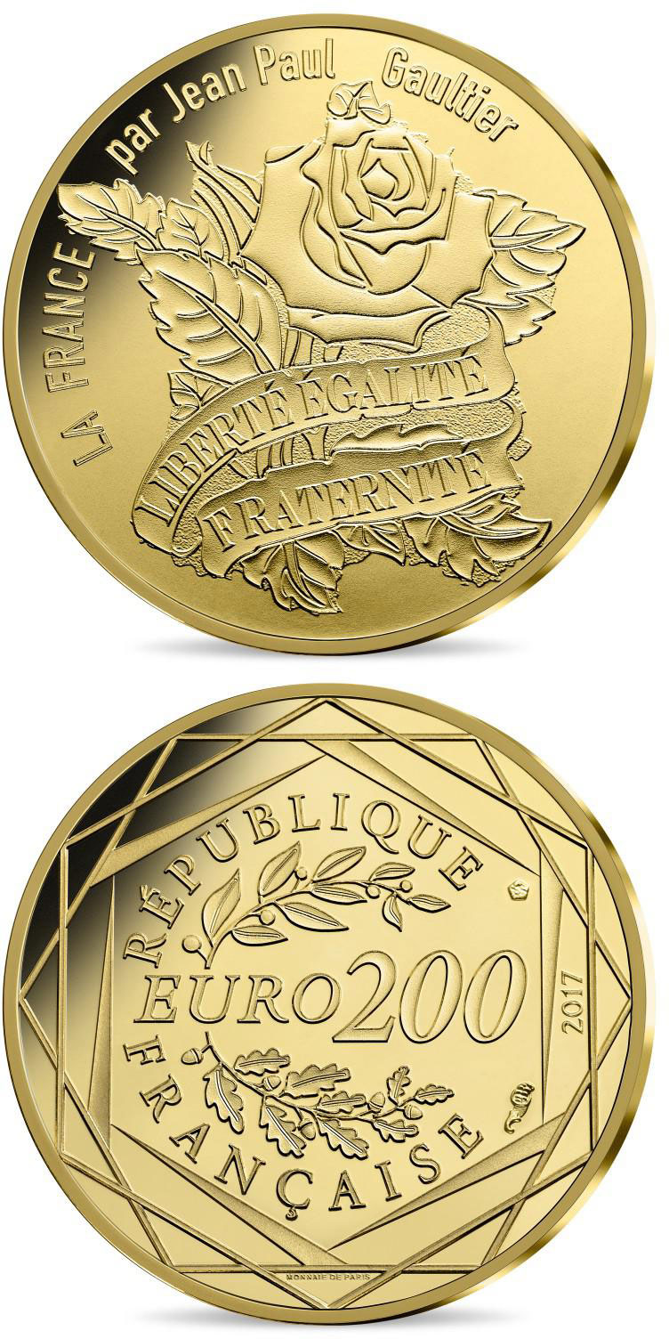 Image of 200 euro coin - France by Jean Paul Gaultier | France 2017.  The Gold coin is of BU quality.
