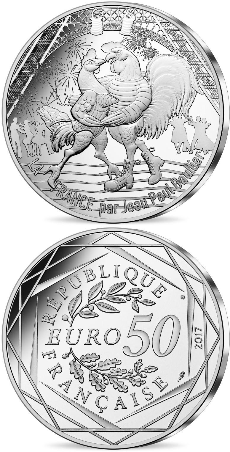 Image of 50 euro coin - France by Jean Paul Gaultier - 14th of July  | France 2017.  The Silver coin is of UNC quality.
