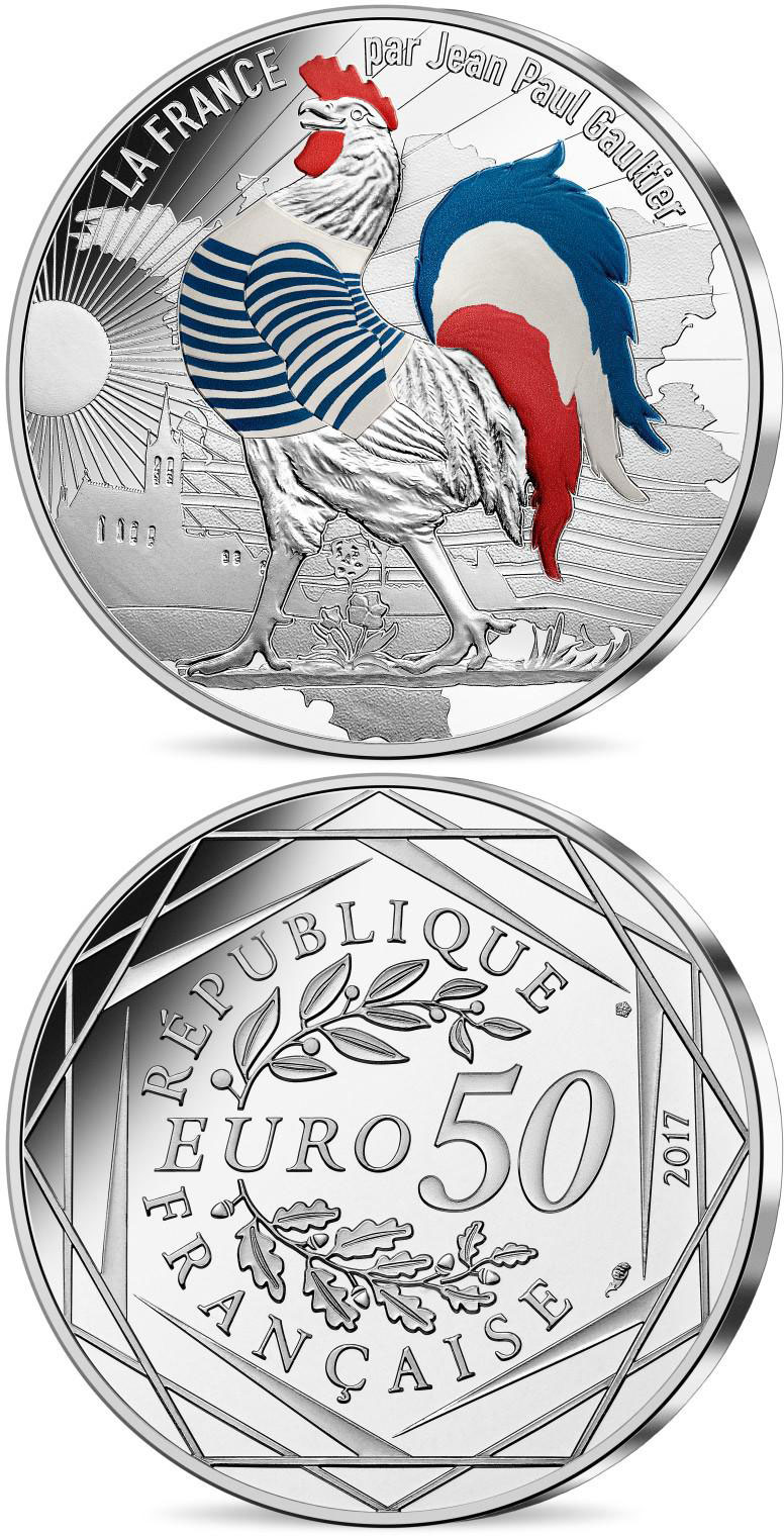 Image of 50 euro coin - France by Jean Paul Gaultier- silver coin Marinière | France 2017.  The Silver coin is of UNC quality.
