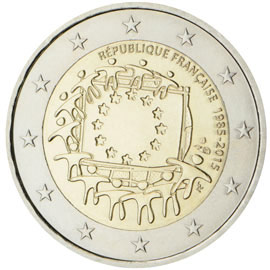 Image of 2 euro coin - The 30th anniversary of the EU flag | France 2015