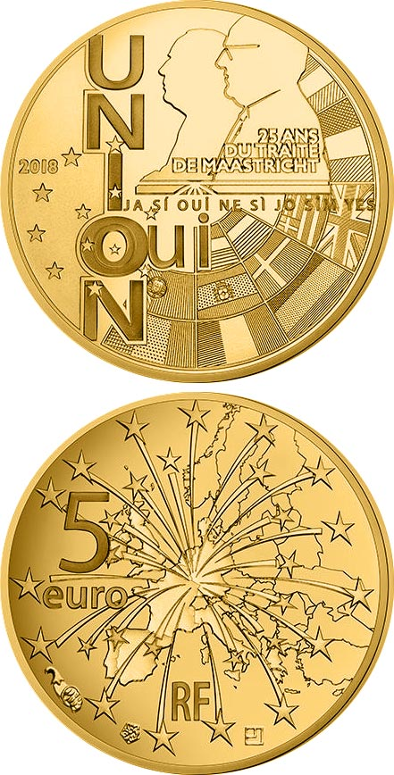 Image of 5 euro coin - 25th anniversary of the Maastricht Treaty | France 2018.  The Gold coin is of Proof quality.