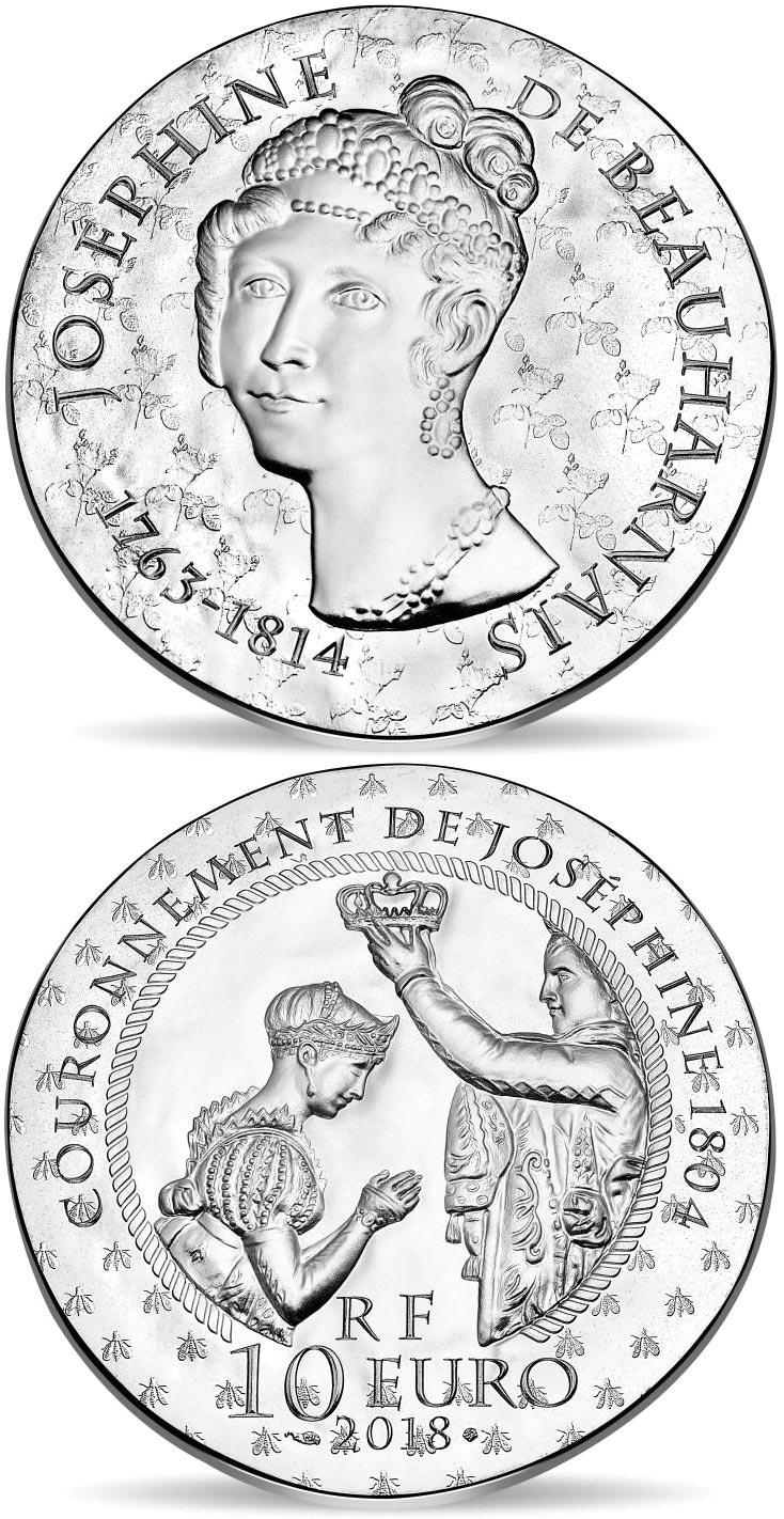 Image of 10 euro coin Joséphine de Beauharnais | France 2018.  The Silver coin is of Proof quality.