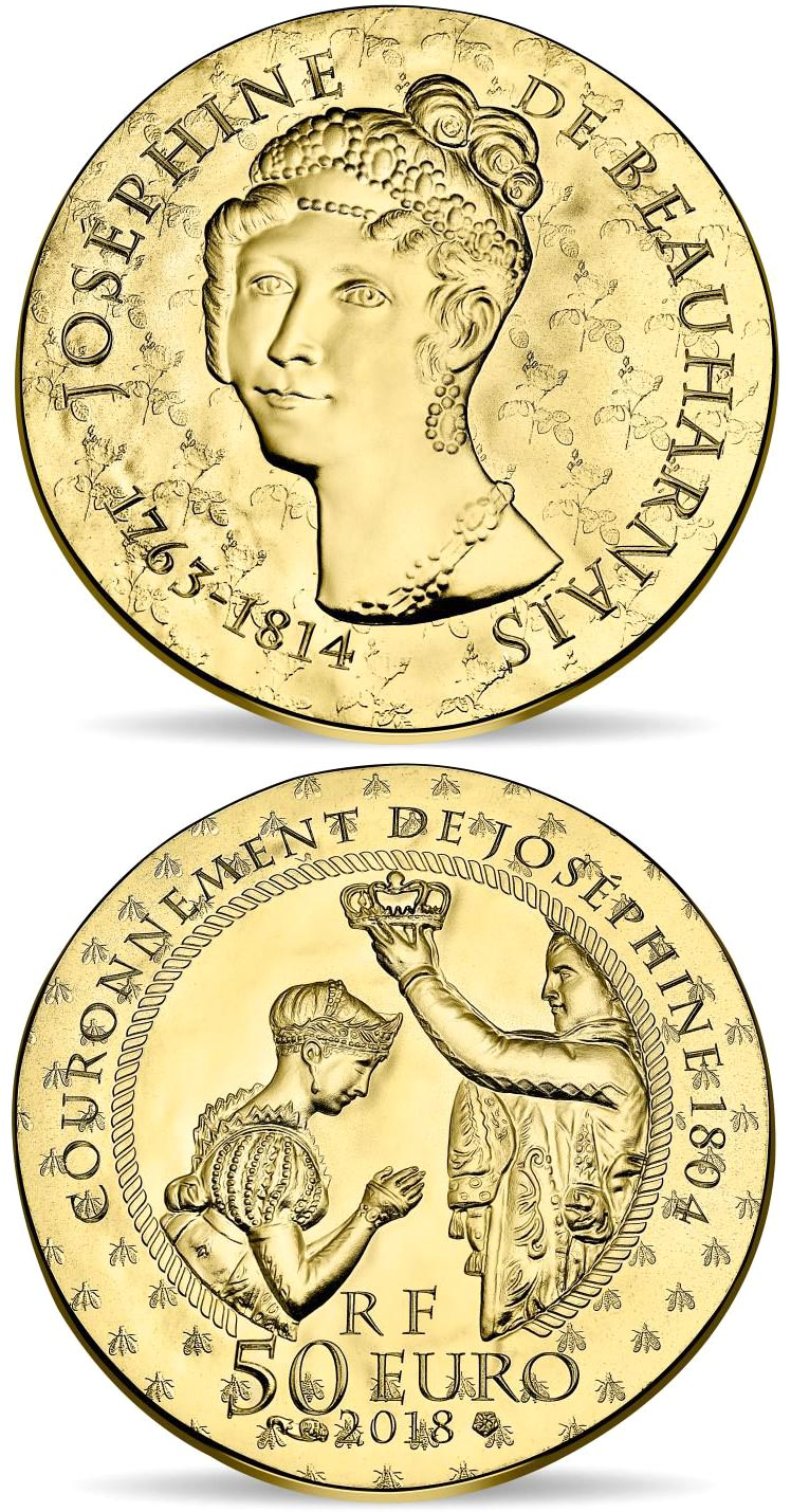 Image of 50 euro coin Joséphine de Beauharnais | France 2018.  The Gold coin is of Proof quality.
