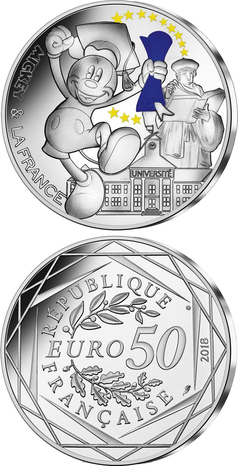 Image of 50 euro coin - Mickey et la France - Student | France 2018.  The Silver coin is of BU quality.