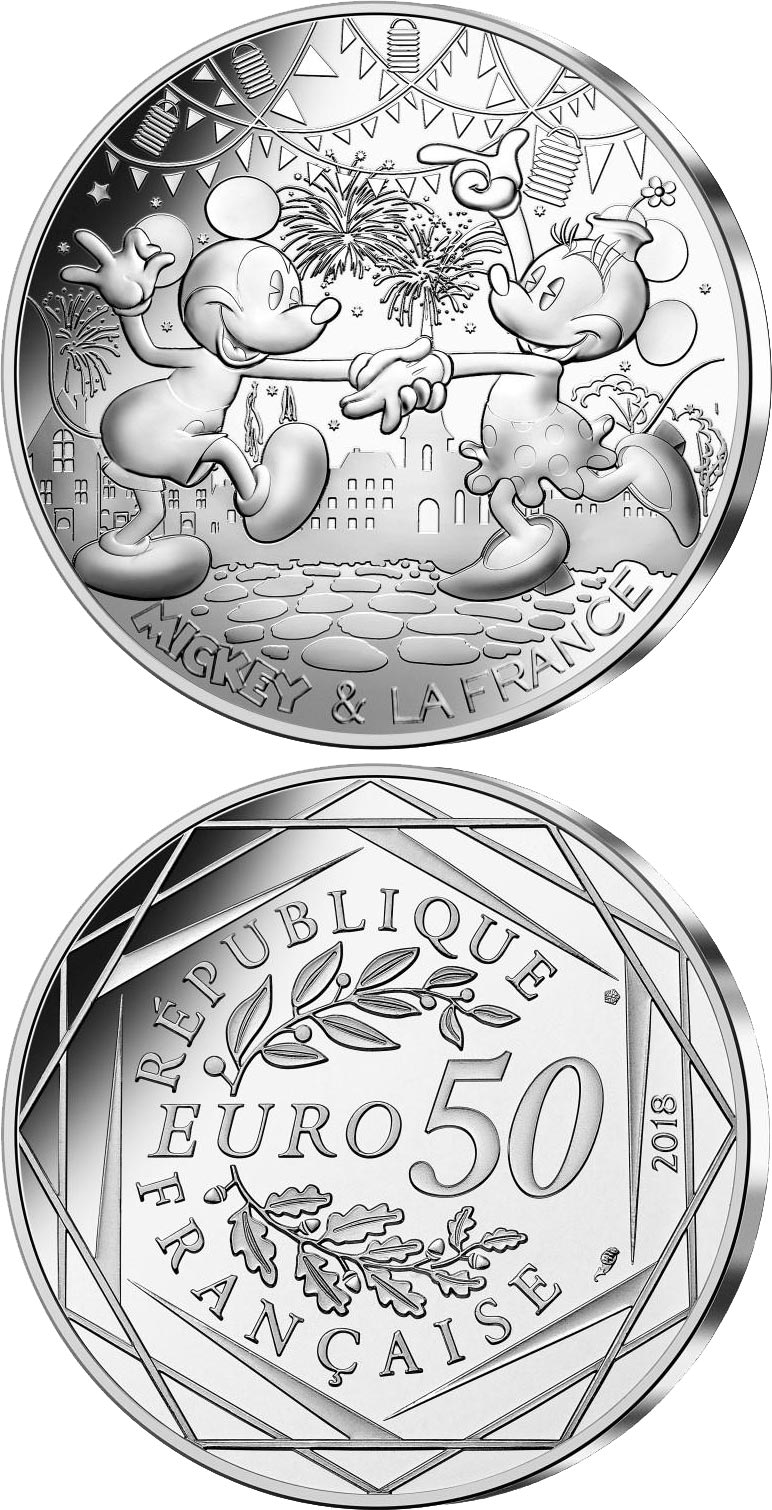 Image of 50 euro coin - Mickey et la France -  14th of July | France 2018.  The Silver coin is of BU quality.