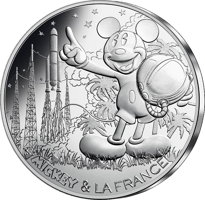 Image of 10 euro coin - Mickey et la France - Countdown | France 2018.  The Silver coin is of UNC quality.