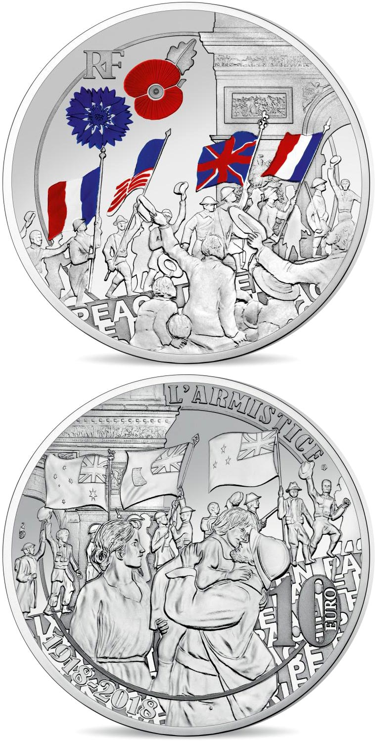 Image of 10 euro coin – People Jubilation | France 2018.  The Silver coin is of Proof quality.