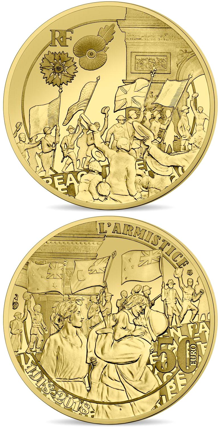 Image of 50 euro coin - People Jubilation | France 2018.  The Gold coin is of Proof quality.