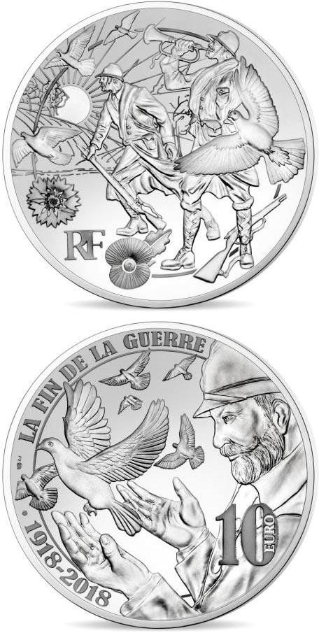 Image of 10 euro coin - Peace | France 2018.  The Silver coin is of Proof quality.