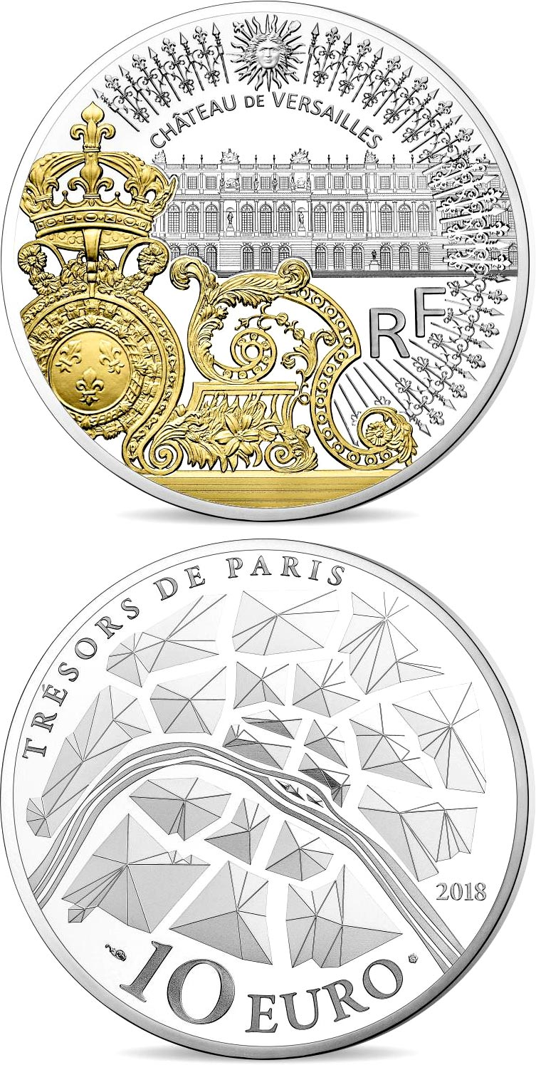 Image of 10 euro coin – The gates of the château de versailles | France 2017.  The Silver coin is of Proof quality.