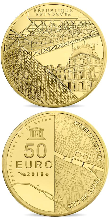 Image of The Seine Banks: Orsay - The Louvre and the Pont des Arts – 50 euro coin France 2018.  The Gold coin is of Proof quality.