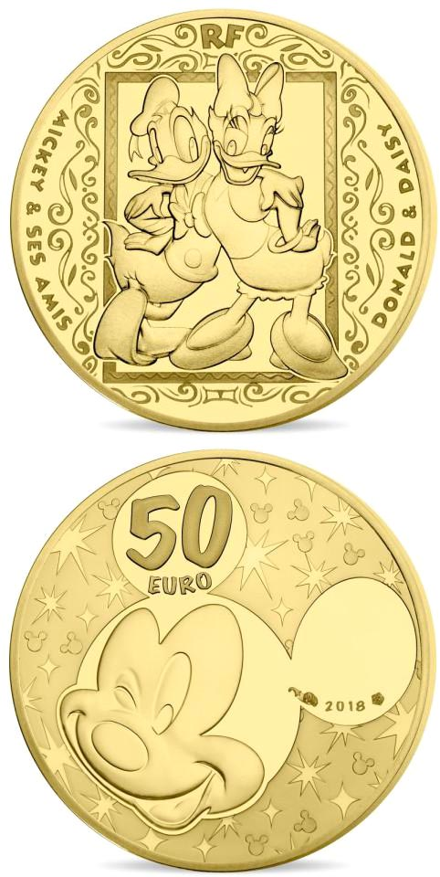 Image of 50 euro coin - Mickey and friends | France 2018.  The Gold coin is of Proof quality.