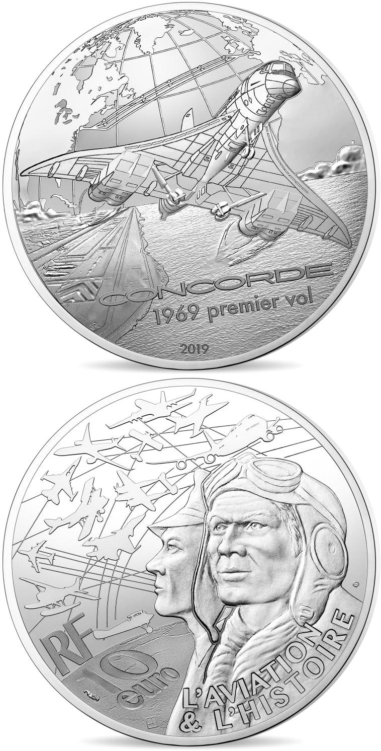 Image of 10 euro coin - The Concorde | France 2019.  The Silver coin is of Proof quality.