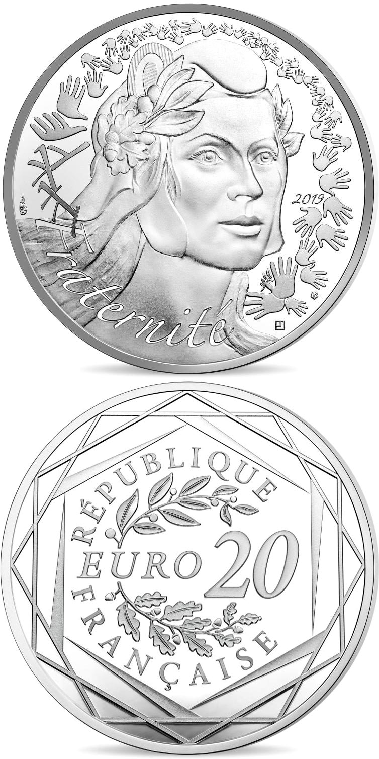 Image of 20 euro coin - Marianne | France 2019.  The Silver coin is of BU quality.