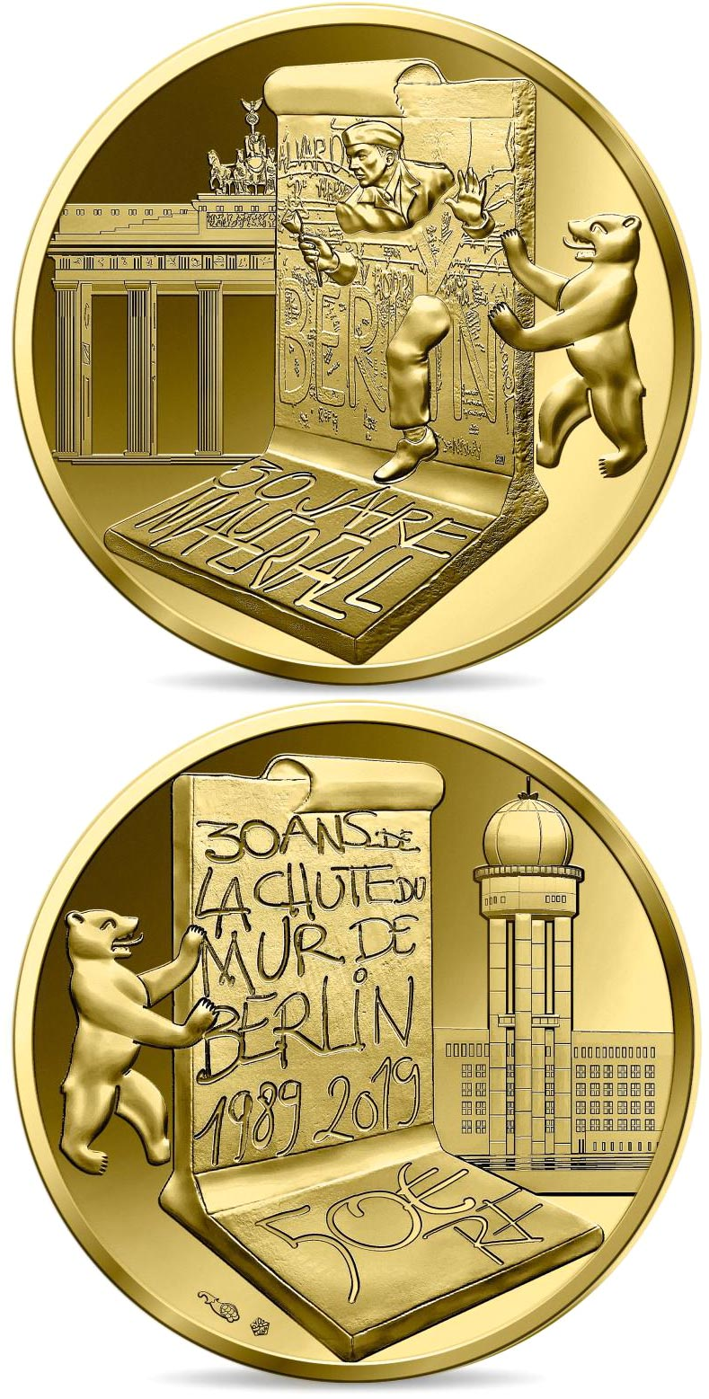 Image of 50 euro coin - The Fall of Berlin Wall | France 2019.  The Gold coin is of Proof quality.