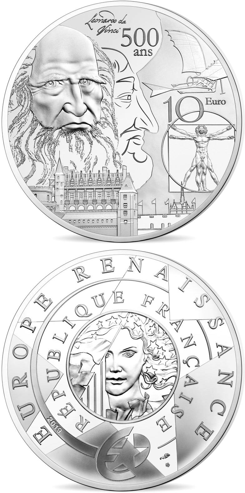 Image of 10 euro coin - Renaissance Era Europa | France 2019.  The Silver coin is of Proof quality.