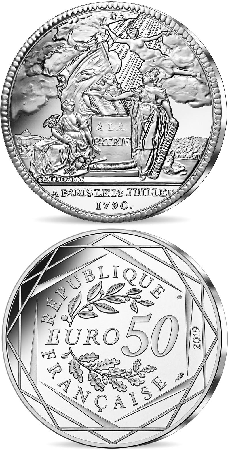Image of 50 euro coin - Coin of History - 14th of July  | France 2019.  The Silver coin is of BU quality.
