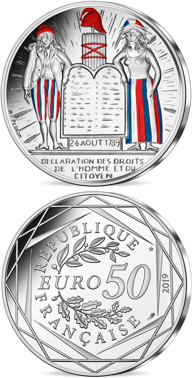 Image of 50 euro coin - Coin of History - Human Rights  | France 2019.  The Silver coin is of BU quality.