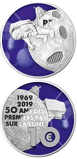 10 euro coin First Step on the Moon | France 2019