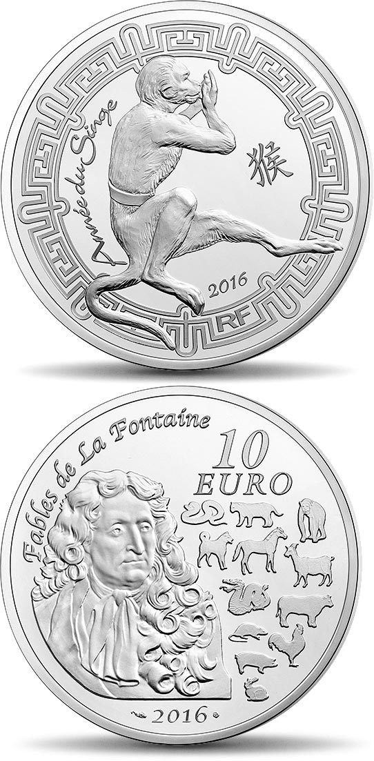 Image of 10 euro coin - Year of the Monkey | France 2019.  The Silver coin is of Proof quality.