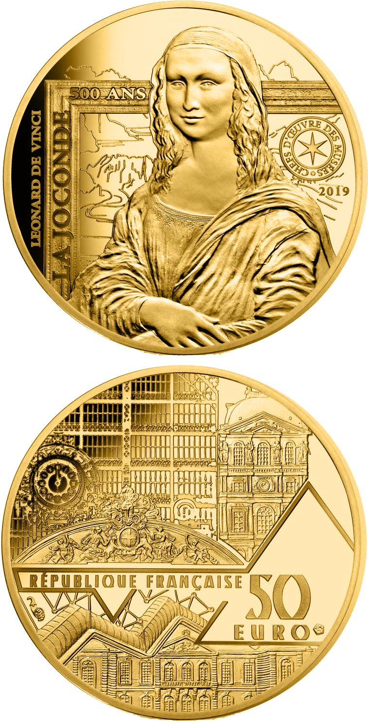 Image of 50 euro coin - Monna Lisa | France 2019.  The Gold coin is of Proof quality.