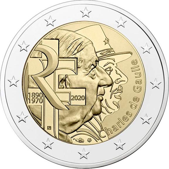 Image of 2 euro coin - Charles de Gaulle | France 2020