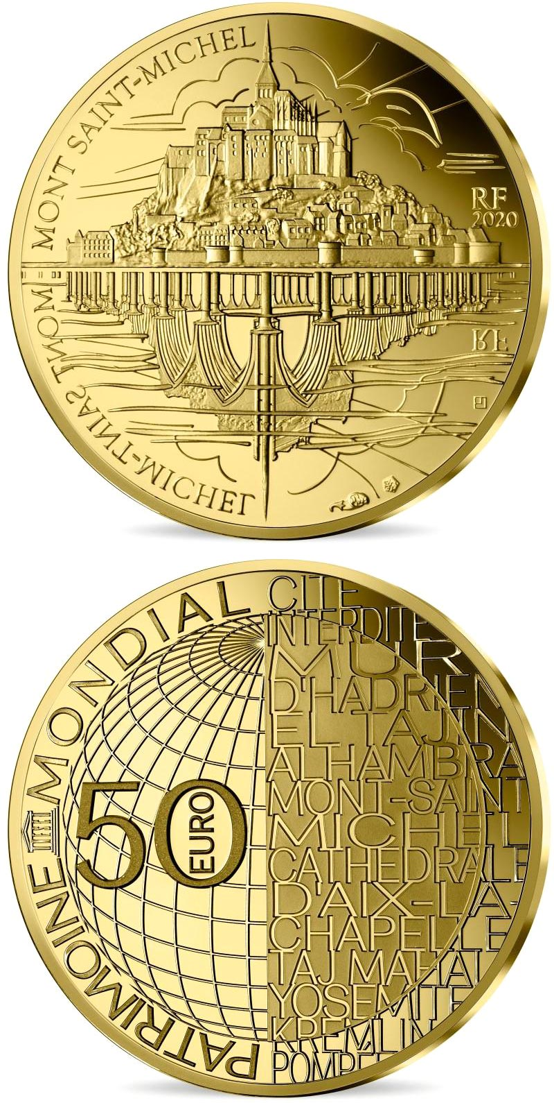 Image of 50 euro coin - Mont Saint-Michel | France 2020.  The Gold coin is of Proof quality.