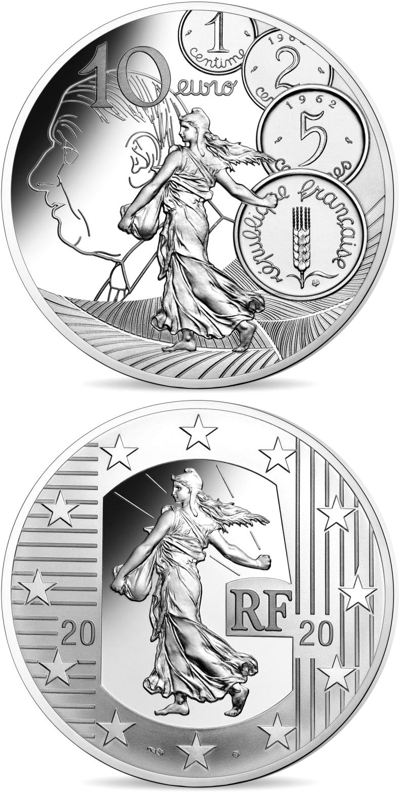 Image of 10 euro coin - The New Franc  | France 2020.  The Silver coin is of Proof quality.
