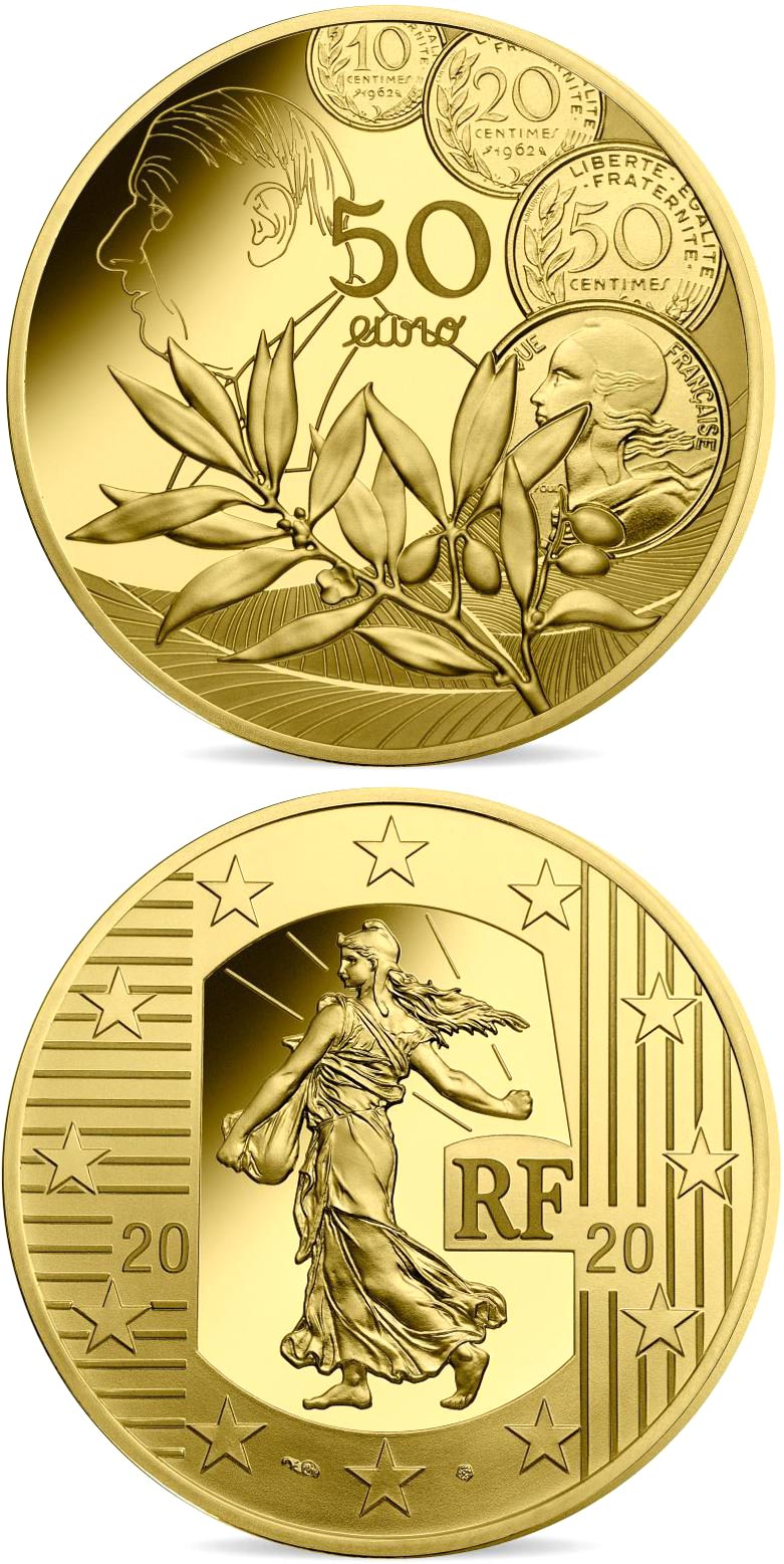 Image of 50 euro coin - The New Franc | France 2020.  The Gold coin is of Proof quality.