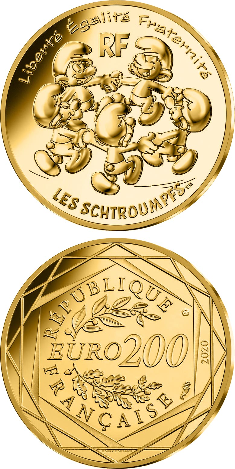 Image of 200 euro coin - The round dance of the Smurfs | France 2020.  The Gold coin is of BU quality.