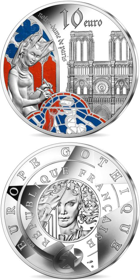 Image of 10 euro coin - Gothic Era Europa | France 2020.  The Silver coin is of Proof quality.