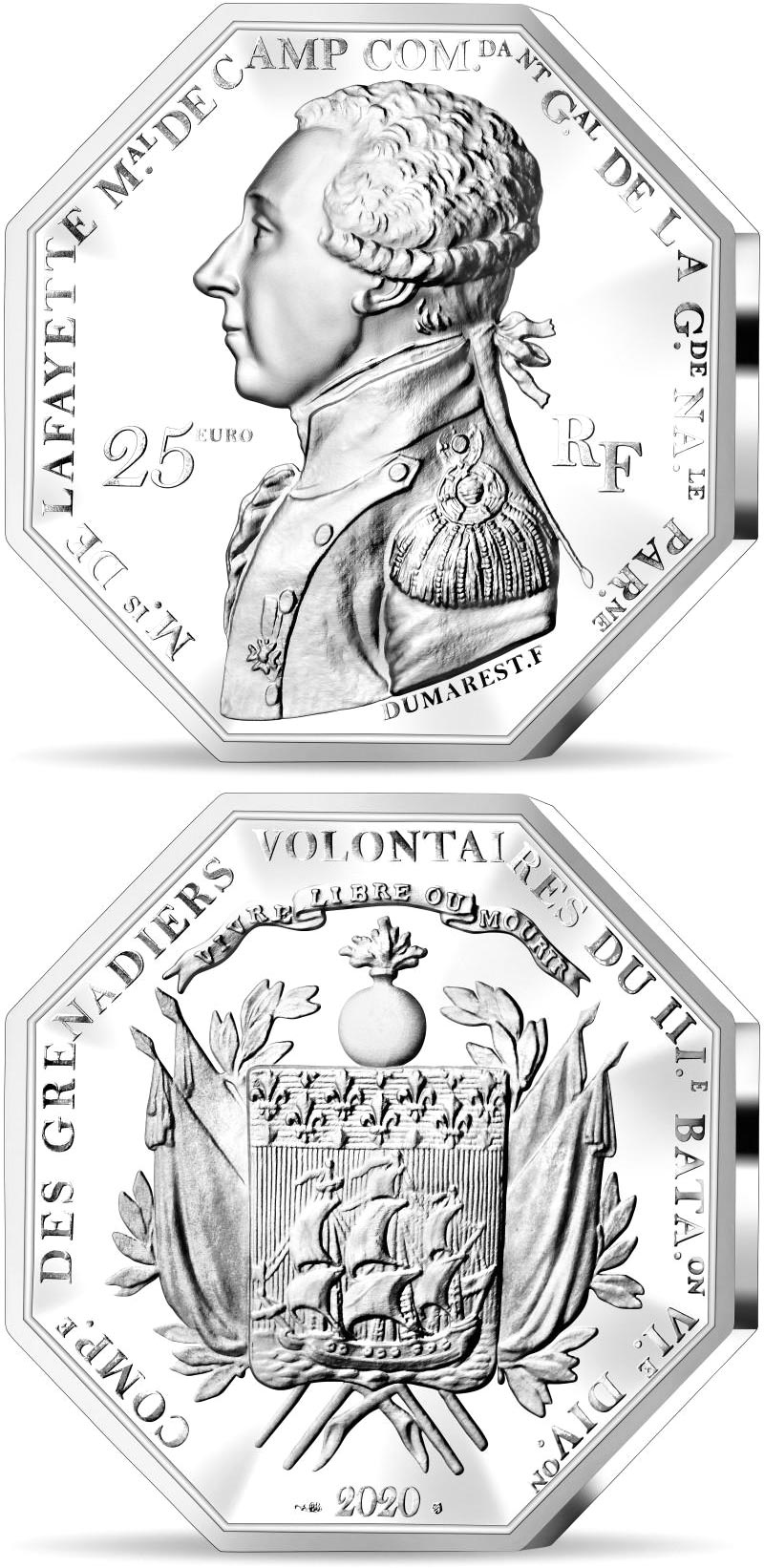 Image of 25 euro coin - Arrival of La Fayette in Boston  | France 2020.  The Silver coin is of Proof quality.
