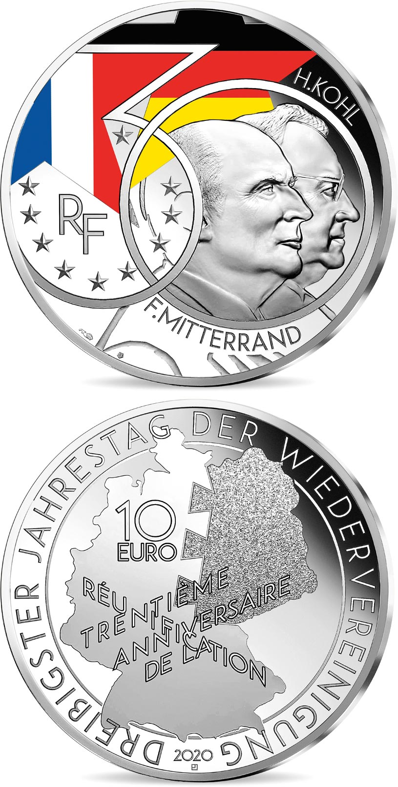 Image of 10 euro coin - Mitterrand - Kohl  | France 2020.  The Silver coin is of Proof quality.