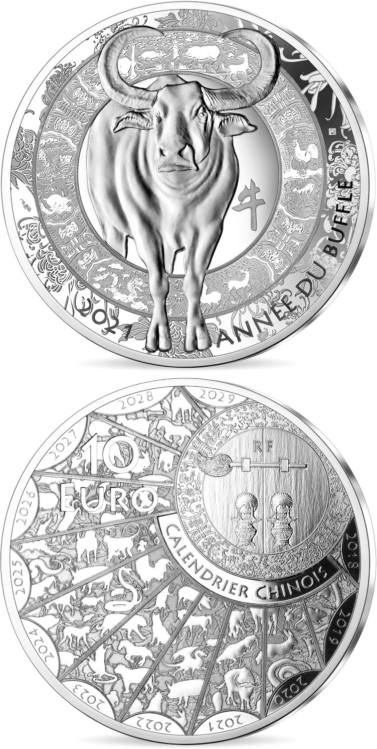 Image of 10 euro coin - Year of the Buffalo | France 2021.  The Silver coin is of Proof quality.