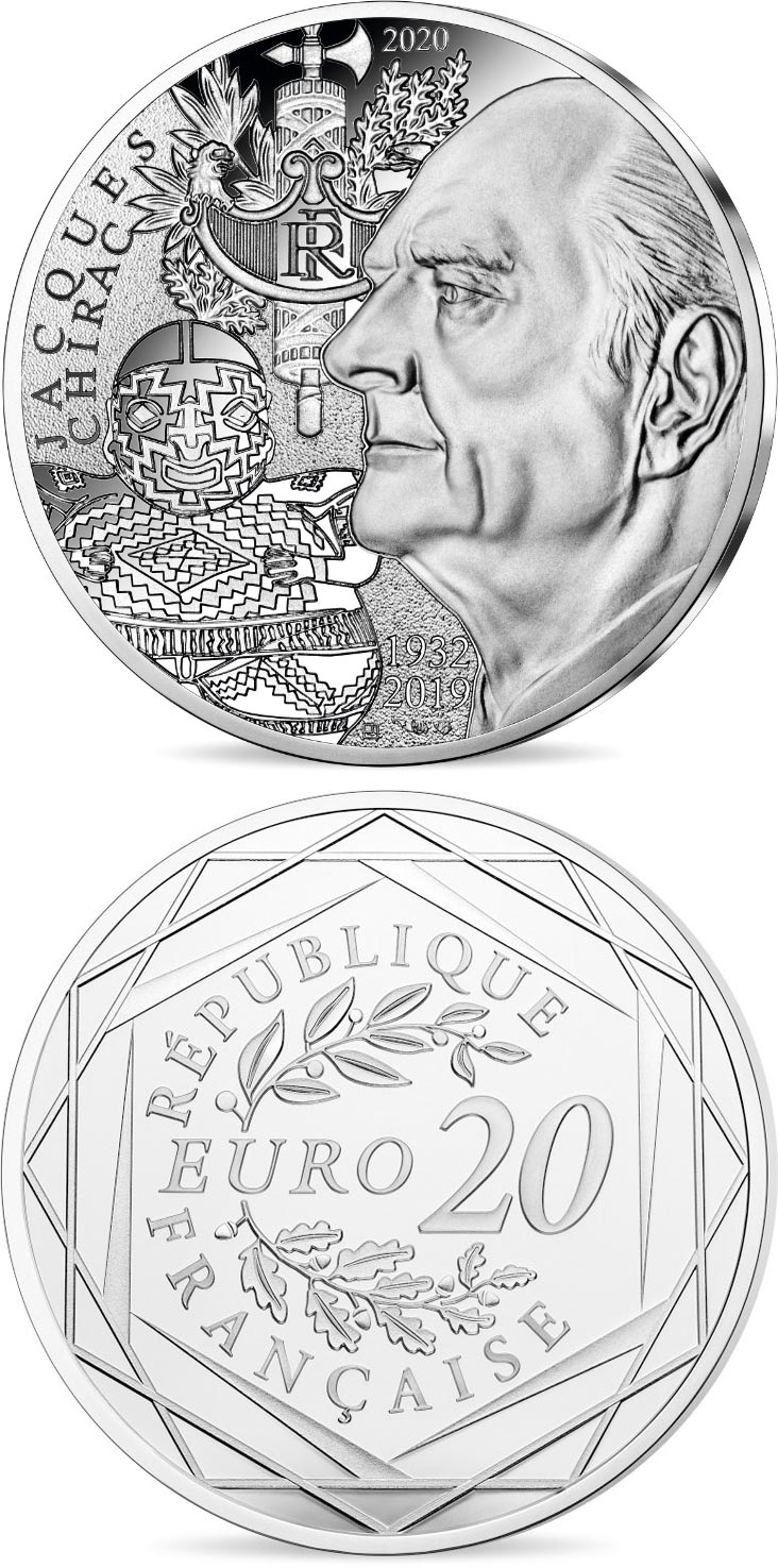 Image of 20 euro coin - Jacques Chirac | France 2020.  The Silver coin is of Proof quality.