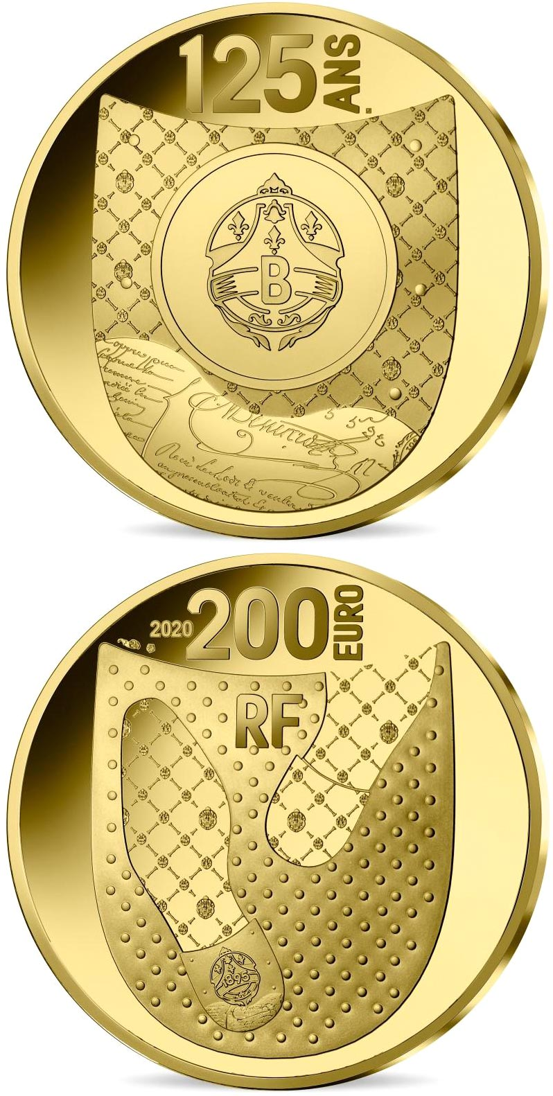 Image of 200 euro coin - Berluti | France 2020.  The Gold coin is of Proof quality.
