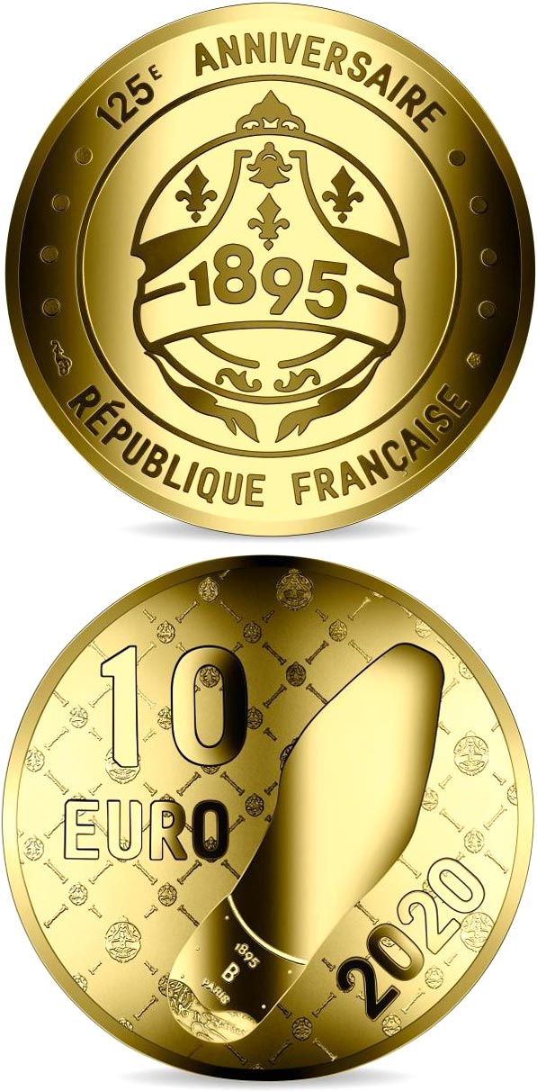 Image of 10 euro coin - Berluti - Penny Loafer  | France 2020.  The Gold coin is of Proof quality.