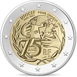 2 euro coin 75 Years of UNICEF | France 2021