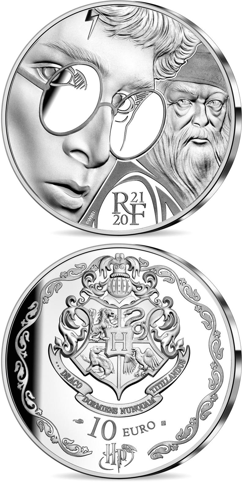 Image of 10 euro coin - Harry Potter | France 2021.  The Silver coin is of Proof quality.