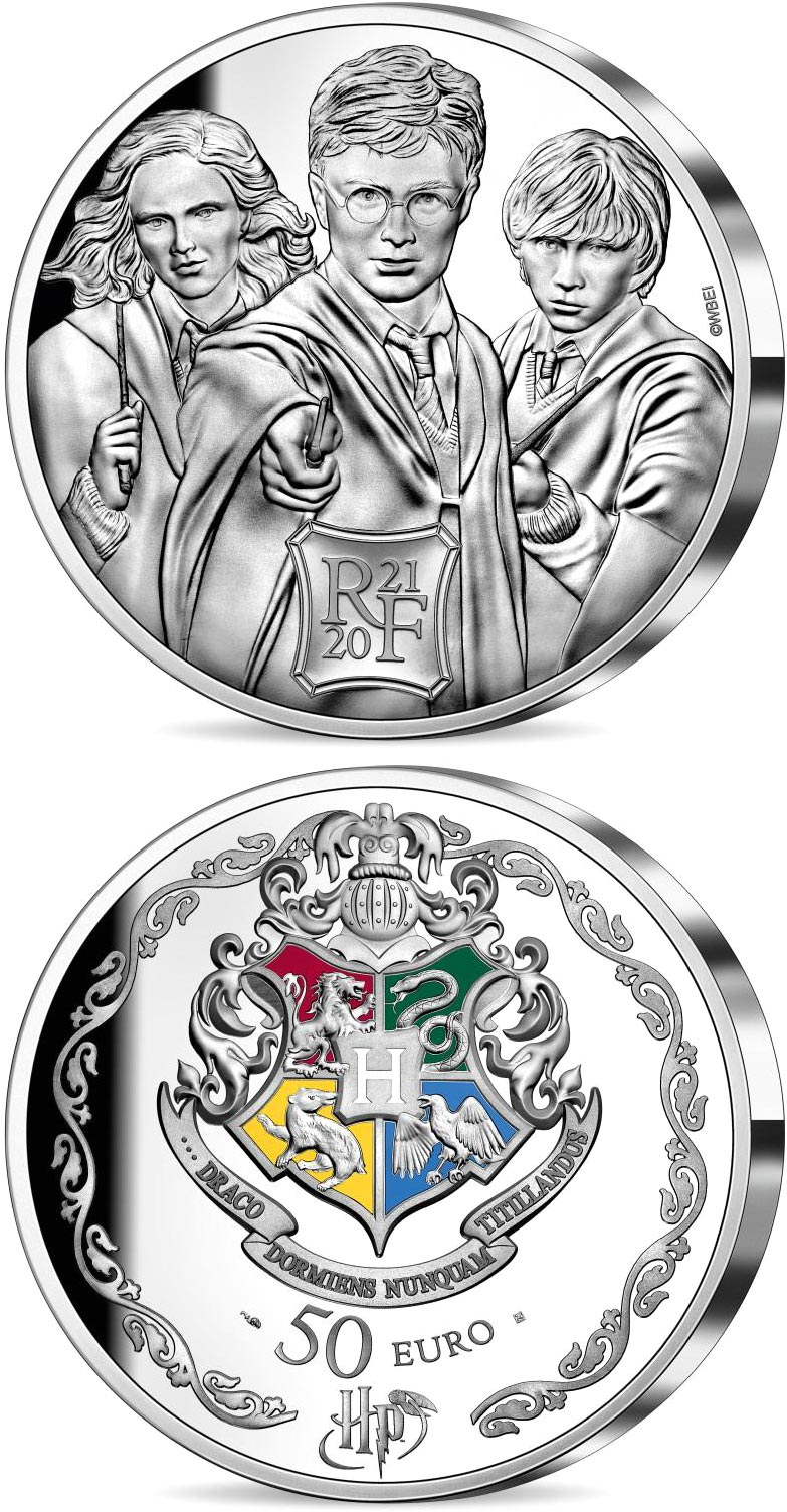 Image of 50 euro coin - Harry Potter | France 2021.  The Silver coin is of Proof quality.