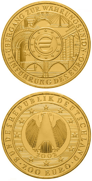 Image of 200 euro coin - Übergang zur Währungsunion - Einführung des Euro | Germany 2002.  The Gold coin is of Proof quality.