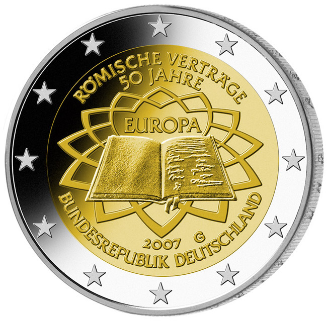 Image of 2 euro coin - 50th Anniversary of the Treaty of Rome | Germany 2007