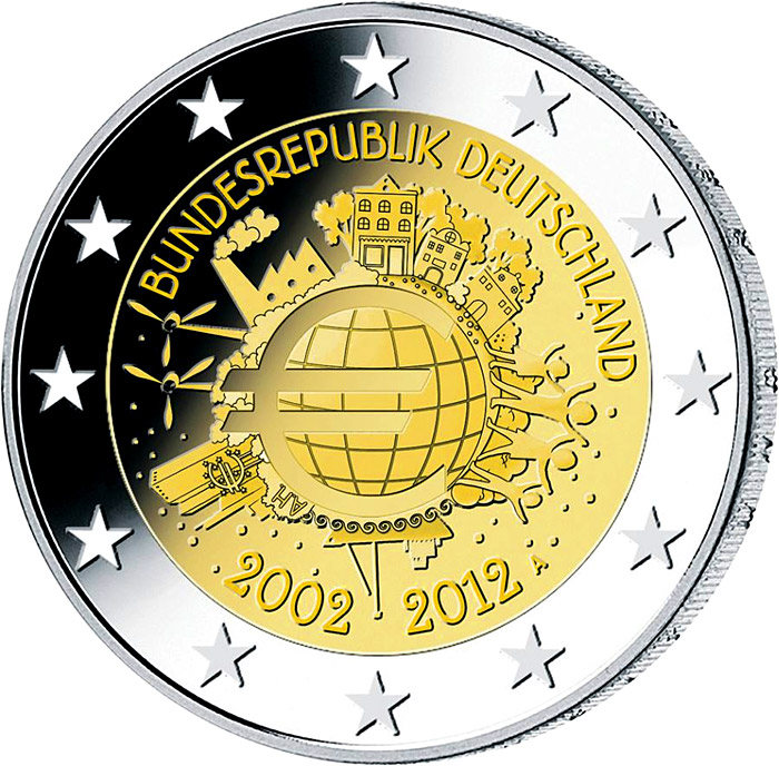 Image of Ten years of Euro  – 2 euro coin Germany 2012