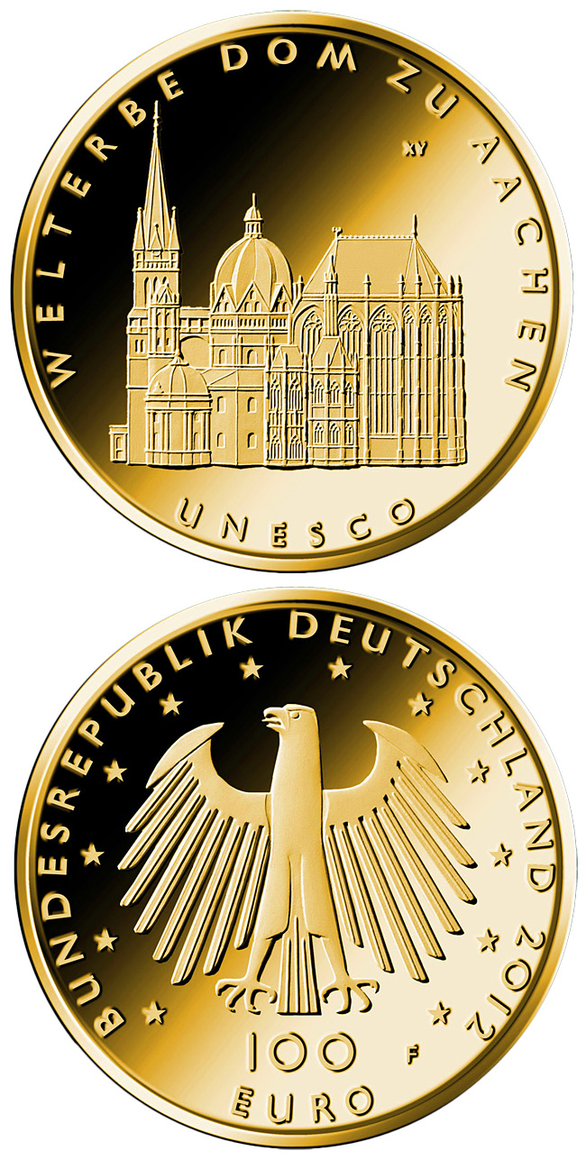 Image of 100 euro coin – UNESCO Welterbe Aachen | Germany 2012.  The Gold coin is of Proof quality.