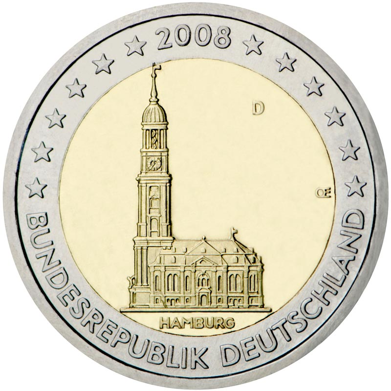 Image of 2 euro coin - St. Michaelis' Church (Hamburg) | Germany 2008