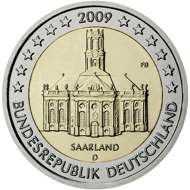 Image of 2 euro coin – Ludwigskirche in Saarbrücken (Saarland) | Germany 2009