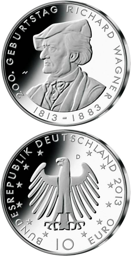 Image of 10 euro coin - 200. Geburtstag Richard Wagner  | Germany 2013.  The Silver coin is of Proof, BU quality.