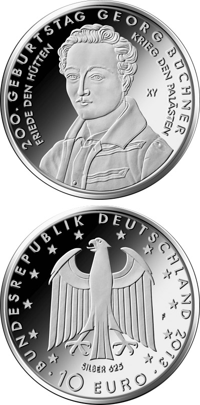Image of 10 euro coin 200. Geburtstag Georg Büchner  | Germany 2013.  The Silver coin is of Proof, BU quality.