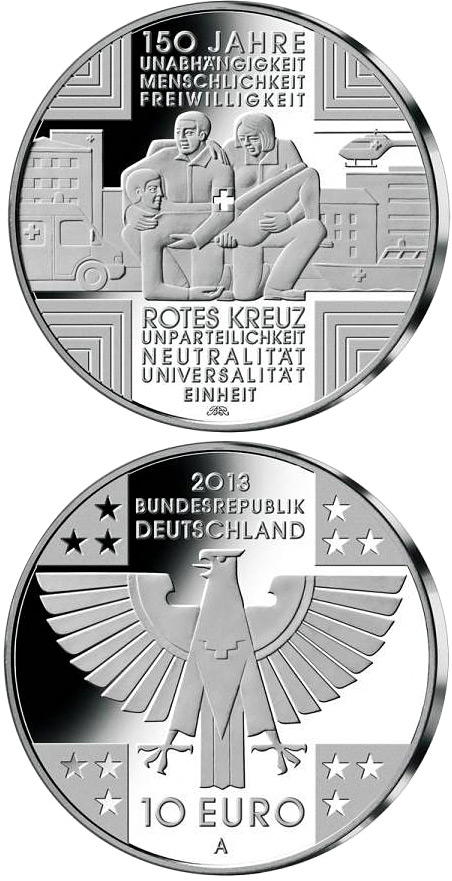 Image of 10 euro coin - 150 Jahre Rotes Kreuz  | Germany 2013.  The Silver coin is of Proof, BU quality.