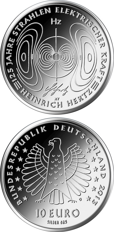 Image of 10 euro coin - 125 Jahre Nachweis der elektromagnetischen Wellen durch Heinrich Hertz  | Germany 2013.  The Silver coin is of Proof, BU quality.